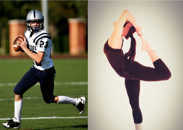 Two athletes, a football player in practice and a gymnast stretching