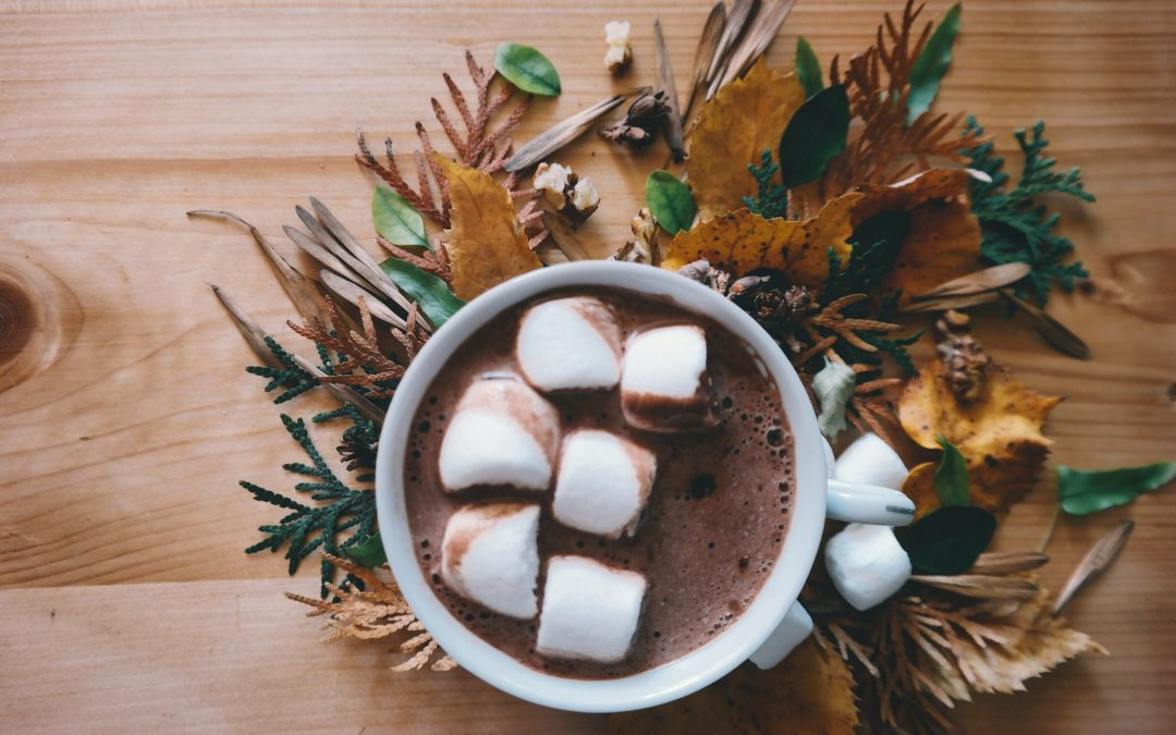 Fall leaves and hot cocoa