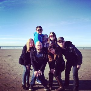 friends at the beach in January